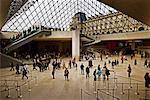 Personnes à l'intérieur du Musée du Louvre
