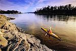 Overhead View of Woman Kayaking, Prevost Island, Gulf Islands, British Columbia, Canada