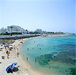 Vue d'ensemble de plage Monastir, Tunisie, Afrique