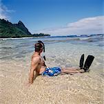 Man in Snorkeling Gear Kauai, Hawaii, USA