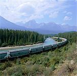 Train de rivière et les montagnes, le Parc National Banff, Alberta, Canada