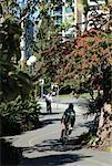 Cyclistes sur piste cyclable, Vancouver, Colombie-Britannique, Canada
