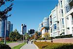 Piste cyclable dans la ville, Yaletown, Vancouver, Colombie-Britannique, Canada
