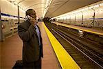 Businessman in Subway Station