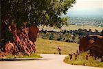 Man Riding Mountain Bike, Red Rocks, Colorado, USA