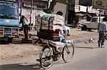 Fabric Vendor on Bicycle, Varanasi, India