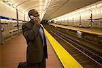 Man on a Subway Platform, Boston, Massachusetts, USA