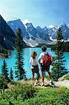 Hikers at Lookout, Moraine Lake, Banff National Park, Alberta, Canada
