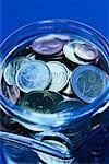 Pot de pièces en euros