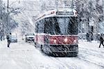 Streetcar in Snow Storm, Toronto, Ontario, Canada