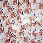 an array of ten euro bills