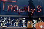 Store Window of Trophy Store, Cambridge, Massachusetts, USA