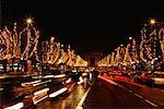 Champs Elysees at Night, Paris France