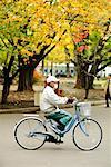 Man Riding Bicycle, Sapporo, Hokaido, Japan
