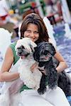 Frau mit Hunde