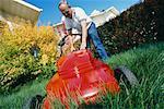 Man Mowing the Lawn, Calgary, Alberta, Canada