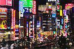 Lumières de la ville de Shinjuku, au crépuscule, Tokyo, Japon