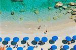 Vue d'ensemble de la plage, Conca dei Marini, Salerne, Amalfi, Italie