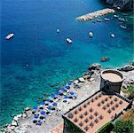 Vue d'ensemble de la plage, Salerne, Amalfi, Italie