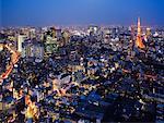 Shiosite de Shiodome et tour de Tokyo, Tokyo, Japon