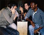 Friends in Bar, Man Talking On Cellular Phone