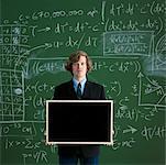 Man Holding Blank Chalkboard