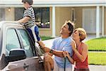Family Washing Car