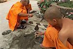 Buddhist Monks Making Roof Ornaments, Wat Choum Khong, Luang Prabang, Laos