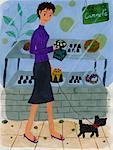Illustration de la femme à la boulangerie française avec chien