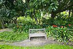 Bank, Huntington Botanische Gärten, Pasadena, Kalifornien, USA