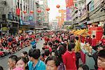 Personnes au défilé pour la princesse thaïlandaise durant le nouvel an chinois, Bangkok, Thaïlande