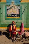 Man Sitting on Bench, Varanasi, Uttar Pradesh, India