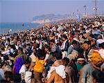 Hindu Pilgrims Gathered at Shore Allahabad, India