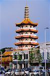 Street Scene With Chinese Pagoda, Sibu, Sarawak, Borneo, Malaysia