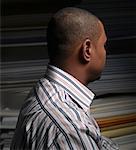 Man in Fabric Shop