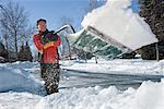 Man Shovelling Snow, Mississauga, Ontario, Canada