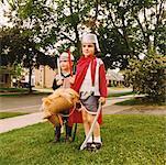 Children Dressed-Up Like Knights