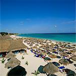 Rows of Beach Umbrellas, Playa del Carmen, Mexico