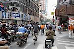 People Biking on Street, Shanghai, China