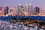 Skyline et Marina, San Diego, Californie, USA