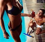 Pool Boy Staring At Woman In Bikini Holding Drink