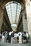 Tourists in Galleria Vittorio Emanuele II, Milan, Italy