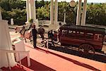 Horse-Drawn Carriage at Entrance of Grand Hotel, Mackinac Island, Michigan, USA
