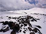 Schnee auf Mauna Loa Vulkan, Hawaii Volcanoes Nationalpark, Hawaii, USA