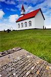 Gravestone and Rural Church, Iceland
