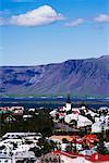 Mont Esja et sur les toits, Reykjavik, Islande