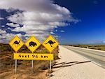 Road Sign, la plaine de Nullarbor, Western Australia, Australie