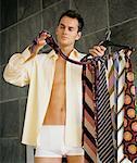 Man Choosing Necktie