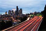 Skyline and Streaking Lights, Seattle, Washington, USA
