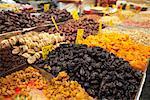 Fruits séchés et noix au marché, Jérusalem, Israël
